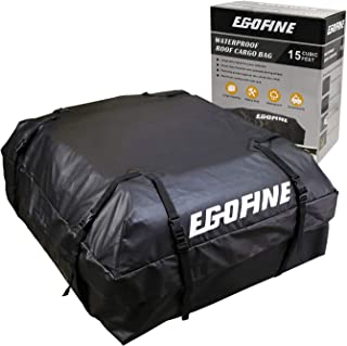 Egofine Roof Top Cargo Carrier Bag (15 cu.ft) 100% Waterproof Car Roof Luggage Carrier Bag for Cars, Vans and SUVs with Roof Rail or Roof Rack