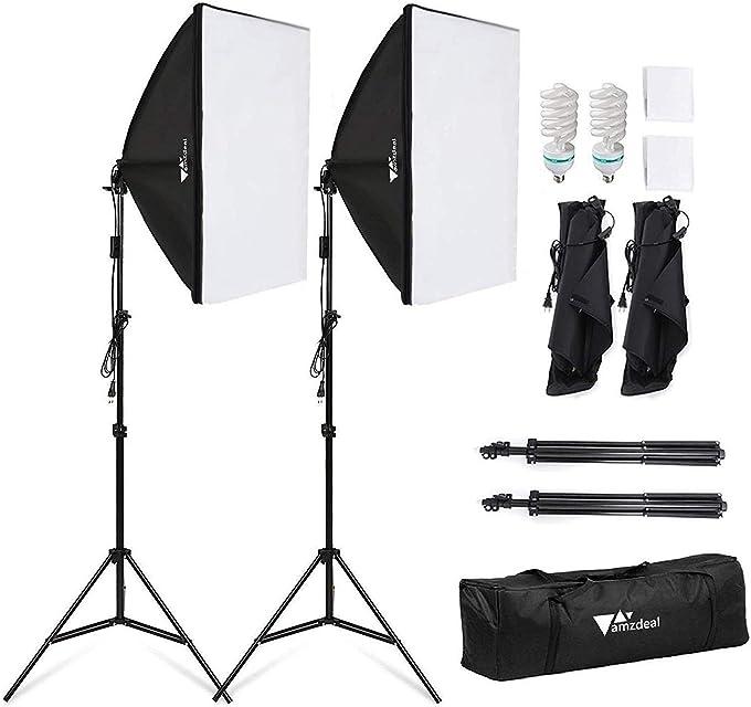 Amzdeal Softbox Focos Kit Iluminacion Fotografia con 2 Ventana de Luz 135W 2 Softbox 50x70cm 2 Tripodes Luz Continua para Estudio Fotográfico ProfesionalNuevo