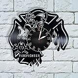 Krykavskyi Art Design Firefighter Gift for Men Clock Firefighter Flags for Home Vinyl Firefighter Gift for him, Firefighter Gifts Ideas, fire Fighter Department