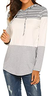 Qearal Womens Casual Long Sleeve Patchwork Sweatshirt Color Block Striped Pullover Hoodie Tops