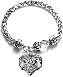Silver Pave Heart Charm Bracelet with Cubic Zirconia Jewelry