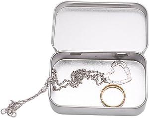 Abicial Metal Tin Silver Flip Small Storage Box Case Organizer for Money Coin Candy Keys