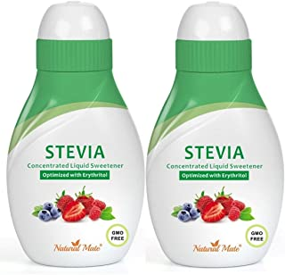 Stevia Concentrated Liquid Sweetener (Optimized with Erythritol) 1.33 FL OZ (37 mL) – 2 Pack
