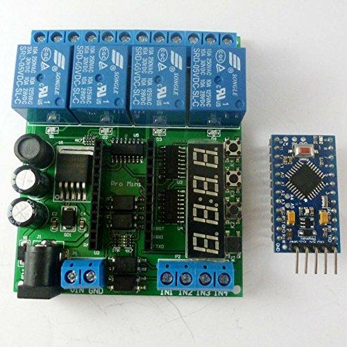 DC 5-24V 4-Kanal Pro Mini-SPS-Platinenrelais-Abschirmmodul für Arduino LED-Anzeigezyklus-Verzögerungs-Timer-Schalter EIN/AUS (Base plate+control board)