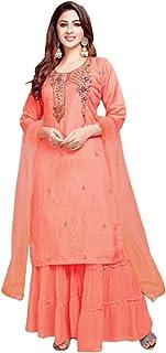 السلمون الهندي تصاميم بوليوود جورجيت سالوار المستقيمة قميص شارا جارا للنساء العيد الخاص 5976