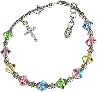 """Children's Sterling Silver First Communion Rosary Bracelet with Swarovski Crystals and CZ Cross (6-6.5"""")"""