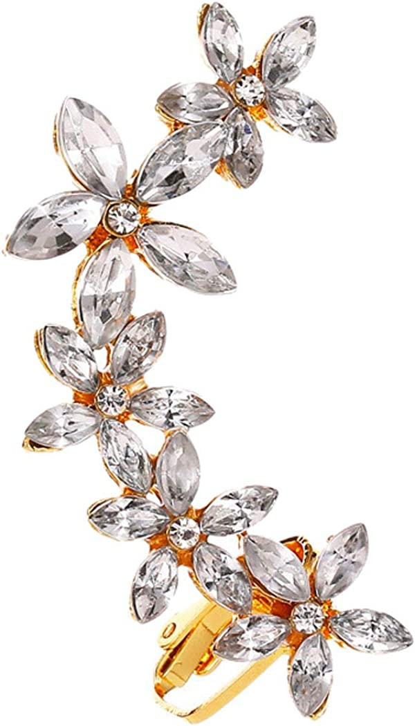 Dainty Flower Floral Ear Cuffs Wraps Earrings for Women Girls Stud and Clip on Back Non Pierced Ears Crawler Climber Hoop Cartilage Earring Hypoallergenic Cubic Zirconia