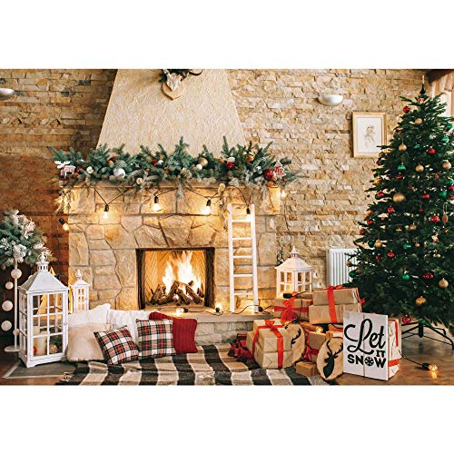 Haboke 7x5ft Soft Durable Fabric Christmas Fireplace Theme Backdrop for Photography Christmas Tree Gift Decorations for Xmas Party Supplies Background Pictures Banner Photo Studio Decor Booth Props