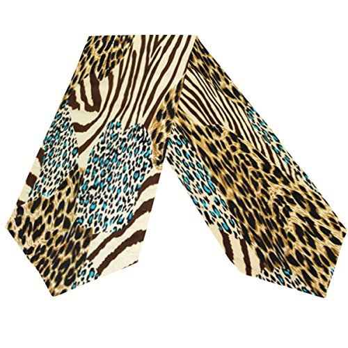 WOZO Animal Tiger Zebra Print Table Runner Placemat Decoration Kitchen 13 X 90 Inches Rectangle Table Runner for Home Coffee Dining Table Party