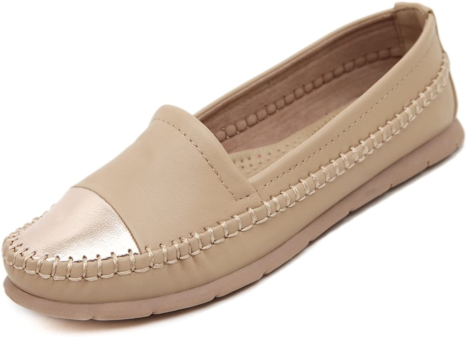 Adelina Women's Classical Two-toned Boat Loafer shoes Driving Moccasin Apricot 40 EU   8.5-9 US