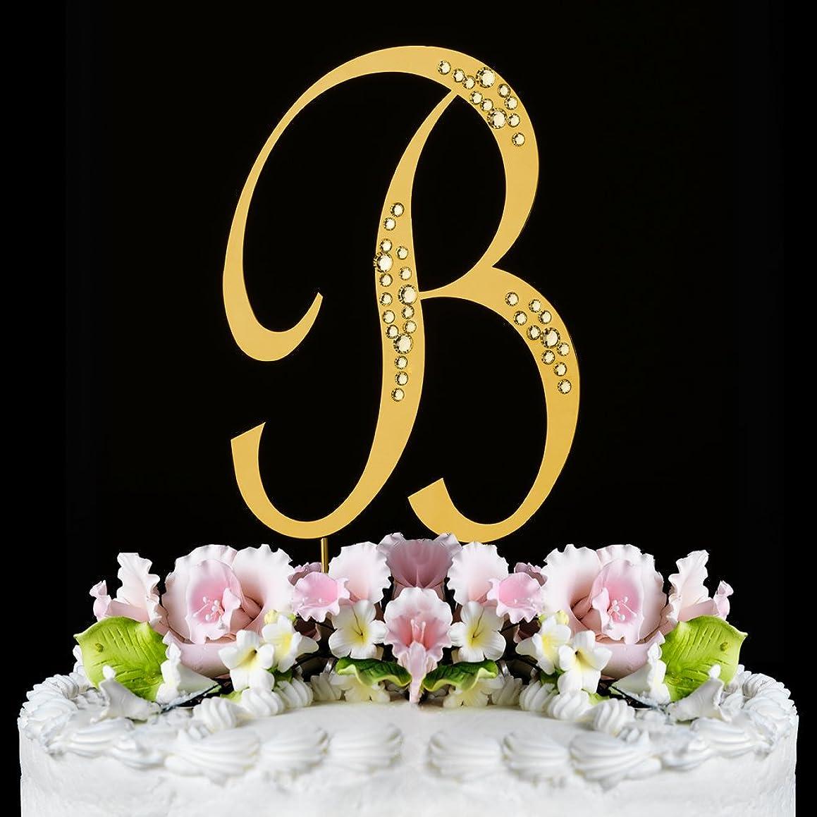 RaeBella New York Swarovski Crystal Sparkle Cake Top Topper Gold LETTER B (SMALL)