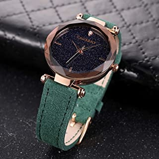 Songlin@yuan 6877 Creative Water Resistant Fashion Women Quartz Wrist Watch with Leather Band Fashion (Color : Green)