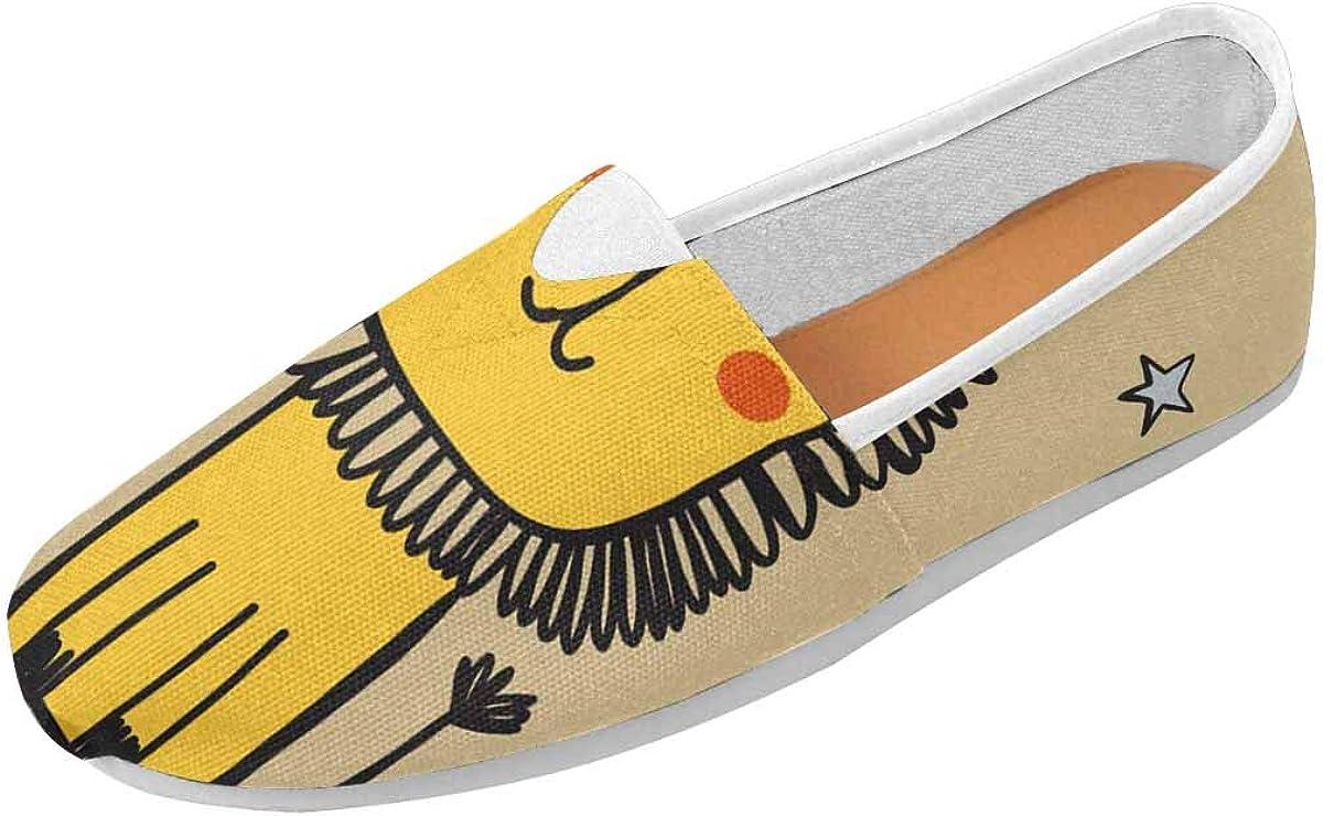InterestPrint Funny Cartoon Lion Women's Casual Slip On Loafers Office