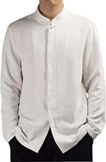 Mens Long Sleeve Chinese Traditional Tai Chi Tang Suit Cotton Linen Shirt
