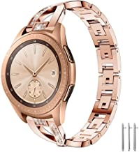 CLSY X-Strap Compatible with 18mm Strap, Stainless Steel Metal Band Link Bracelet with Diamond, Replacement for Fossil Gen 4 Q Venture HR/Gen 3 Q Venture Smartwatch (18mm,Rose Gold)