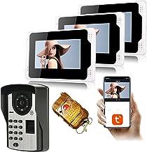 Tuya Smart 7 inch WiFi Video Deurbel, 3 Monitor + 1080p Night Vision Security Camera, Video Deurtelefoon, Intercom, Vinger...