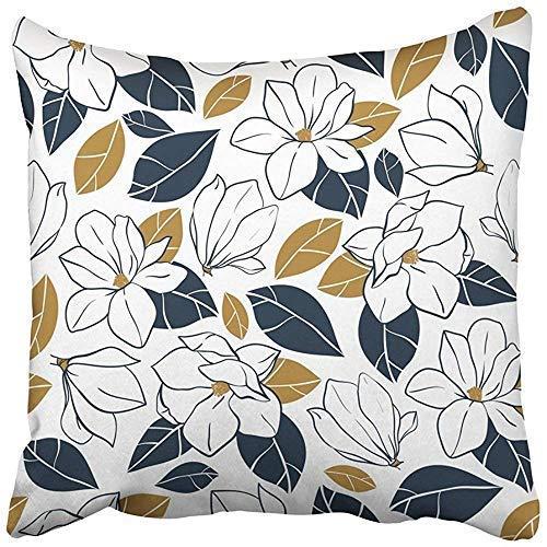 Bonita funda de cojín cuadrada con diseño de flores de magnolia botánica, brotes y hojas en color azul oscuro y mostaza, funda de almohada para el hogar, interior, cama, jardín, coche, decoración de oficina