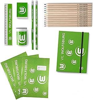 VFL Wolfsburg Schulset bestehend aus 10er Buntstifte, Sammelmappe, 3er Schreibhefte, Schreibset Spitzer, Lineal,, Radiergummi, Bleistifte 2er
