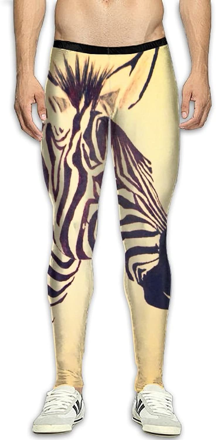 Mens Zebra And Bird Compression Pants Sport Tight Leggings Elastic Waist Baselayer Yoga Sports Trousers