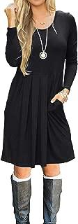 Women Long Sleeve Pocket Pleated Loose Casual Short T Shirt Dress