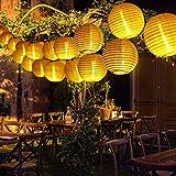 Solar Exterior Guirnaldas Farolillos Luces, 5M 20 LED Globos Solares Luz IP54 Impermeable Para Exteriores Cortinas Porche,Terraza Sombrillas, Jardin, Ventana, Interior, Navidad Decoracion (luz calida)