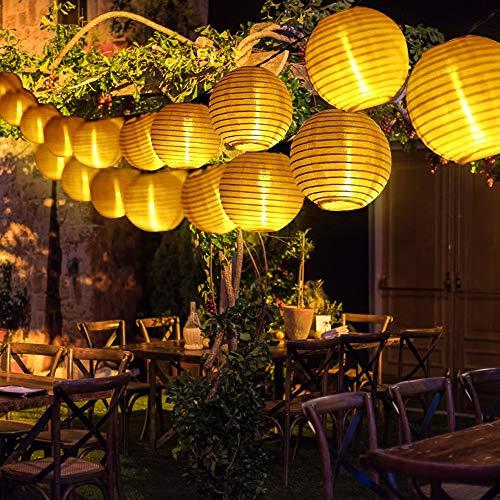 Solar Lichterkette Lampions Außen, 5M Warmweiß Weiss kette mit 20er LED Laternen Solarbetrieben Lichterkette für Garten, Terrasse, Balkon, Weihnachten, Hochzeit, Camping, Feiern und Partybeleuchtung