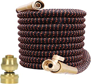 """Garden Hose Expandable and Flexible - All New Expandable Water Hose Super Durable 3750D Fabric 4-Layers Flex Strong Latex 3/4"""" Solid Brass Fittings Strength Fabric Hose with Jet Nozzle and Washers"""