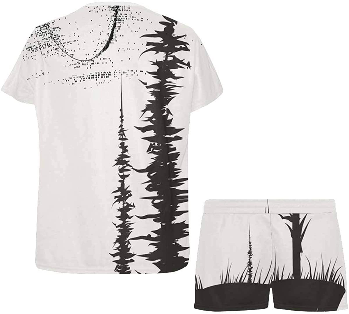 INTERESTPRINT Wolf Howling to The Moon Women's Pajama Sets Short Sleeve Shorts - Pajamas for Women