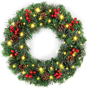 Hoomall 15 Inch Wreath Floral Fall Door Wreath Artificial Flower Wreath for Front Door Festivals Door Hanging Home & Party Decoration Home Relaxed Decor
