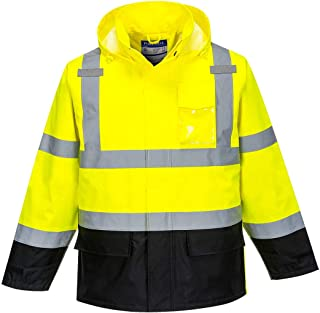 Portwest Hi-Vis Contrast Rain Jacket Viz Insulated Safety Visability Work Wear Rain ANSI 3