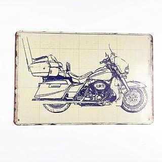 GUOYXUAN Cartel de Metal de hojalata de Motocicleta Cartel de decoración de Bar Vintage Tablero de decoración de Pared 20 ...