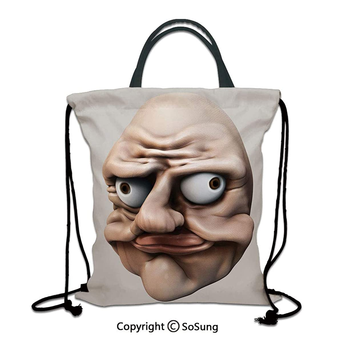 Humor 3D Print Drawstring Bag String Backpack,Grumpy Internet Troll Face with Trippy Gestures Ugly Post Meme Joke Image Decorative,for Travel Gym School Beach Shopping,Egg Shell and Tan