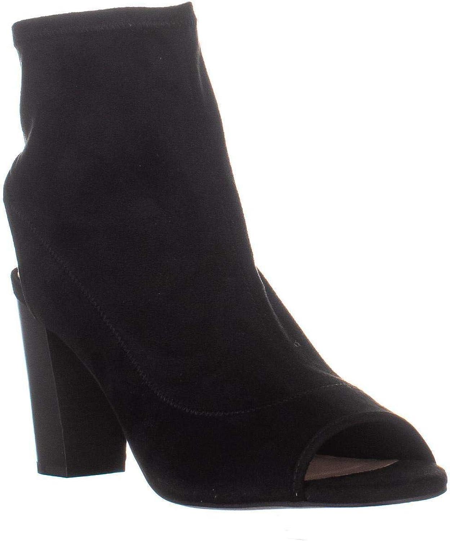 INC International Concepts I35 Kayden Block Heel Peep Toe Bootie Heels, Black