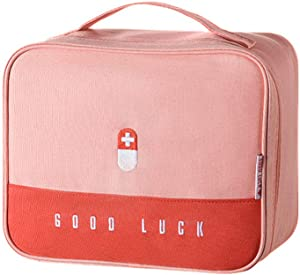 Souarts First Aid Bag, Empty Emergency Treatment Medical Bags, First Responder Storage Compact Survival Medicine Bag, Layered Medicine Box Large-Capacity Home Portable Waterproof Fabric Bags (Pink)
