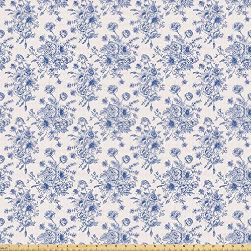 ABAKUHAUS anemoon Stof per strekkende meter, Blue Floral Corsage, Stretch Gebreide Stof voor Kleding Naaien en Kunstnijverheid, 3 m, Night Blue White
