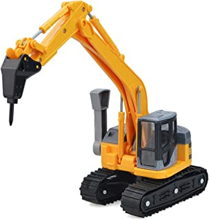 Llsdls Juguete para niños Vehículo de ingeniería Cuatro en uno Excavadora de orugas pequeña Trituradora de Juguete/Madera de Agarre/Manipulación de Materiales Vehículo magnético