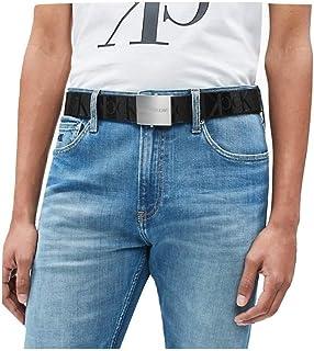 حزام قماشي جيه للرجال من كالفن كلاين مع قطعة معدنية، بعرض 4 سم، رمادي، بطول 100 سم