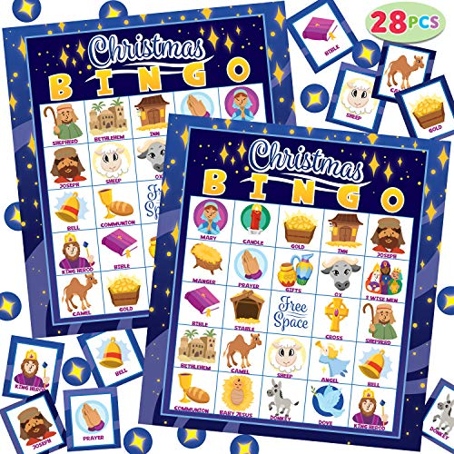 28 Players Christmas Bingo Cards (5x5) for Kids Xmas Party Supplies Goodies Games, Kids School Classroom Goody Gift Filler Stuffers, Indoor Family Activities (Nativity)