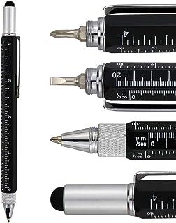 قلم HeTaoCat Metal Multi Tool 6-in-1 Stylus Pen-با پیچ گوشتی ، پیچ گوشتی فیلیپس ، پیچ گوشتی با قطر کمی تخت ، قلم Ballpoint سیاه و سفید ، قلم قلم ، سطح حباب و خط کش (سیاه)