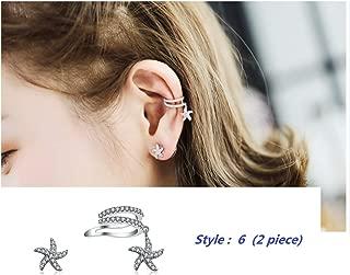 GOLD XIONG PADISHAN Fashion Personality Cubic Zirconia Cartilage Ear Cuff Chic Helix Hoop Earring no Pierce Earrings (Sliver, Starfish Earring Sets 2pcs)