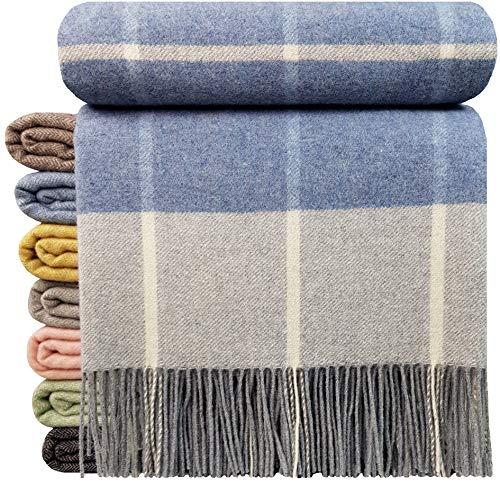 STTS International Kaschmir Decke Wolldecke Wohndecke 100% Wolle - Kaschmir - Mix 140 x 200 cm sehr weiches Plaid Kuscheldecke Faro (Hellblau-Grau-Weiß (Karo))