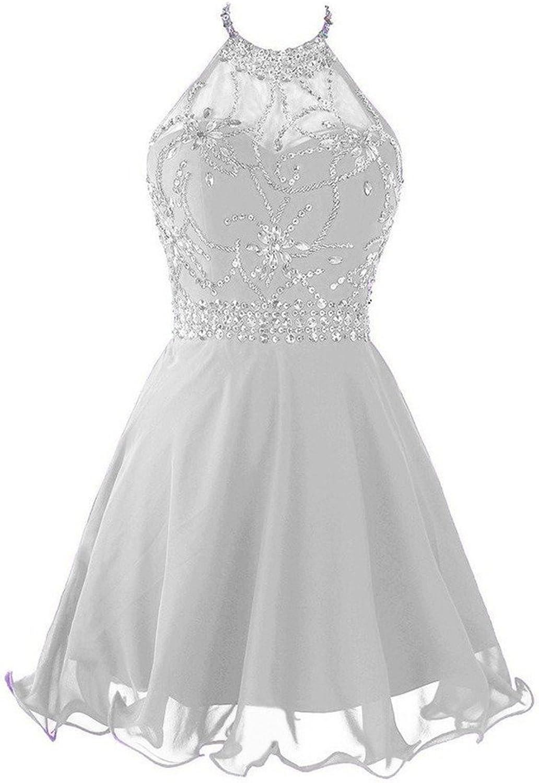 ANGELA Women's Halter Short Homecoming Dress Sequins Prom Dress
