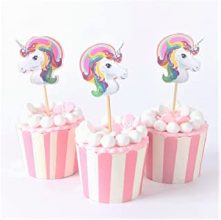 24pcs/lot Pink Unicorn Cupcake Toppers ,Halloween, Birthday, Event Parties Favors for Kids & Adults Cupcake Accessory Decoration Supplies, (Serve 24)