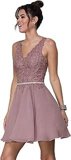 Zhongde Women's V Neck Open Back Beaded Lace Prom Dress Short Chiffon Bridesmaid Dresses