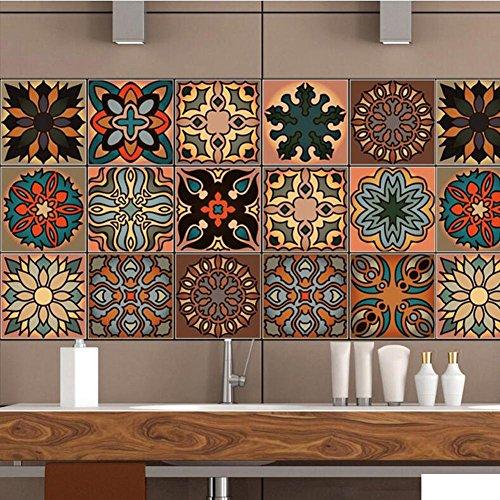 20cm*100cm*4pcs Fliesen Aufkleber Sticker Folie selbstklebend für Küche und Bad Tile Style Decals | wandfliesen aufkleber| Deko Fliesenfolie für Küche u. cz050 Marokkanischer Stil , 20cm*100cm*4pcs