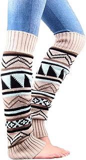 Calentador de Pierna Alta por Encima de la Rodilla para Mujer Calcetines de Punto Navideños Calcetines Largos de Crochet de Invierno