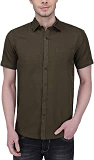 Southbay Olive Green Linen Cotton Business Casual Shirt for Men