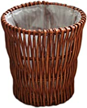 Recycling Bin Rattan Trash can Cylindrical uncovered Trash can Toilet Paper Willow Woven Storage Bucket Hand-Woven Trash c...