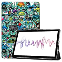 MAITTAO Compatible with Huawei MediaPad M6 10.8 2019 Case, Slim Leather Folio Smart-Shell Stand Cover with Auto Wake/Sleep for Huawei Mediapad M6 10.8 Inch 2019 Released Tablet, Graffiti Wall 13