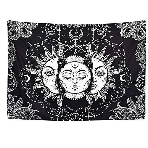 Tapiz de montaña tapiz de sol y luna colgante de pared arte de pared blanco y negro hippie psicodélico espacio tela de fondo de pared A2 180x200cm